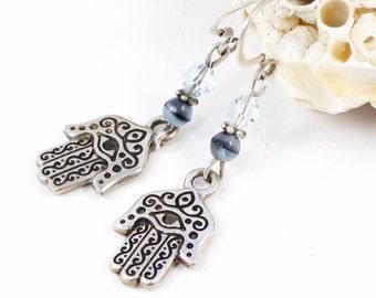 Silver Evil Eye Earrings   Hamsa Hand Jewelry For Her   Hand of Fatima Jewelry For Her   Evil Eye Protection Jewelry   Solana Kai Designs