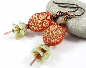 Owl Earrings, Orange Owl Earrings, Bellflower Earrings, Czech Glass Earrings, Copper Dangle Earrings, Niobium Ear Wires, Solana Kai Designs