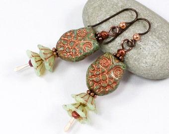 Owl Earrings, Green Turquoise Owl Earrings, Bellflower Earrings, Czech Glass Earrings, Copper Dangle, Niobium Ear Wires, Solana Kai Designs