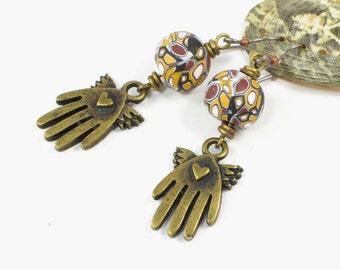 Unique Wing Earrings | Heart In My Hand Jewelry | Hand Earrings For Women | Art Nouveau Dangle Earrings | Earrings for Sensitive Ears