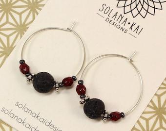 Aromatherapy Earrings - Diffuser Earrings - Lava Stone Earrings - Sterling Silver Hoop Earrings - Black Red Earrings - Solana Kai Designs