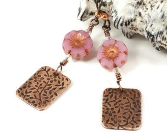 Pink Flower Earrings For Her | Floral Jewelry For Her | Floral Jewelry Gift For Women | Earrings for Sensitive Ears | Solana Kai Designs