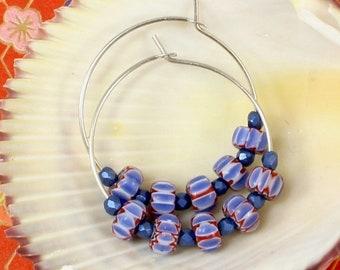 Sterling Silver Hoop Earrings - African Trade Bead Earrings - Red White Blue  Earrings - Lightweight Hoop Earrings - Solana Kai Designs