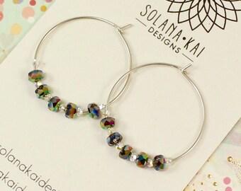 Sterling Silver Hoop Earrings - Swarovski Crystal Earrings - Green Blue Purple Irisdescent - Lightweight Hoop Earrings - Solana Kai Designs