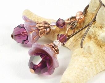 Purple Flower Earrings For Her | Summer Earrings Gift For Her  | Floral Jewelry Gift | Earrings For Sensitive Ears | Solana Kai Designs
