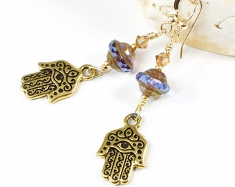 Gold Hamsa Earrings | Evil Eye Jewelry | Hand of Fatima Earrings | Judaica Jewelry | Protection Amulet | Solana Kai Designs |