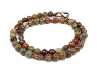 Red Creek Jasper Necklace - Gemstone Copper Necklace - Natural Gemstone Jewelry - Autumn Necklaces For Women - Solana Kai Designs