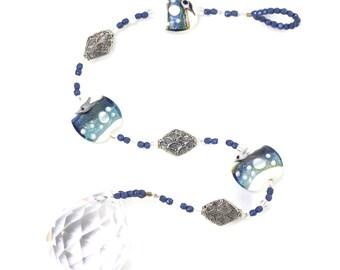 Lampwork Glass Bead Suncatcher -  Blue White Decor - Hanging Window Crystal - Window Prism Rainbow Maker - Solana Kai Designs