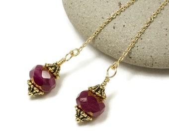 Gold Threader Earrings   Thread Earrings   Chain Earrings   Minimalist Earrings   Raspberry Red Czech Glass Earrings   Solana Kai Designs