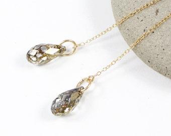Gold Threader Earrings | Gold Earrings | Gold Chain Earrings | Minimalist Earrings | Gold Briolette Earrings | Solana Kai Designs