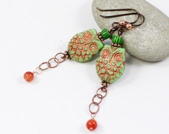 Owl Earrings, Horned Owl Earrings, Retro Earrings, Retro Green Owl Earrings, Copper Owl Earrings, Solana Kai Designs, Pacific NW