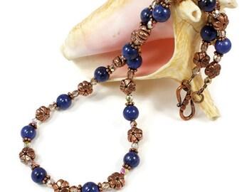 Blue Gemstone Necklace For Women | Copper Necklace For Women | Dumortierite Gemstone Necklace | Solana Kai Designs | Portland Oregon