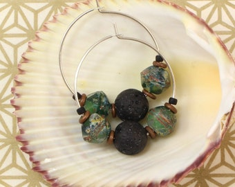 Aromatherapy Earrings - Diffuser Earrings - Lava Stone Earrings - Sterling Silver Hoop Earrings - Green Black Earrings - Solana Kai Designs