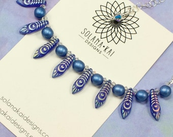 Delicate Bib Necklace - Blue Silver Dagger Necklace - Blue Statement Necklace - Adjustable Length - Solana Kai Designs -
