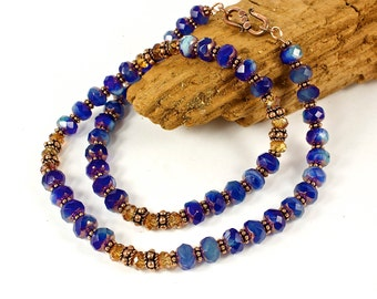 Copper Blue Necklace | Copper Blue Jewelry For Her | Copper And Bead Necklace For Women | Solana Kai Designs | Portland Oregon
