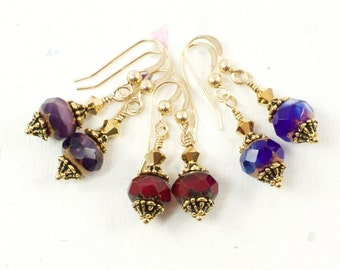 Small Gold Dangle Earrings | Small Dangle Party Earrings For Women | Dark Blue and Gold Art Nouveau Jewelry | Red Dangles | Purple Dangles