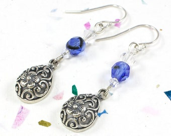 Blue Floral Earrings For Her   Sterling Silver Floral Earrings For Her   Flower Earrings For Women   Solana Kai Designs   Pacific NW