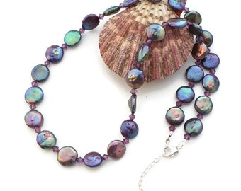 Freshwater Pearl Necklace - Purple Necklace For Women - Purple Pearl Swarovski Jewelry - Solana Kai Designs - Portland OR