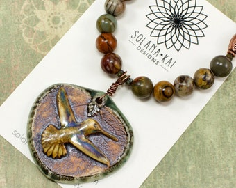 Hummingbird Necklace - Bird Jewelry For Women - Autumn Necklaces For Women - Hummingbird Jewelry - Solana Kai Designs