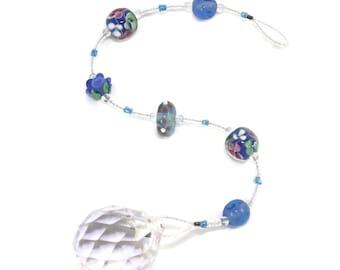 Lampwork Glass Bead Suncatcher -  Blue Floral Decor - Hanging Window Crystal - Window Prism Rainbow Maker - Solana Kai Designs