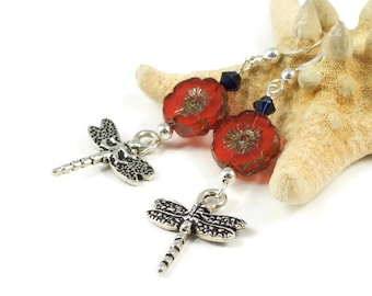 Orange Flower Earrings For Her | Orange Nature Earrings For Women | Dragonfly Jewelry Gift For Her | Solana Kai Designs | Portland Oregon