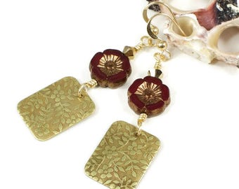 Red Flower Earrings For Her | Floral Jewelry Gift For Women | Floral Earrings For Women | Gift For Her | Solana Kai Designs |