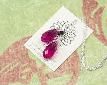 Crystal Threader Earrings   Fuchsia Pink Swarovski Briolette Earrings   Sterling Silver Threader Earrings For Her    Solana Kai Designs