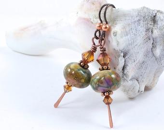 Lampwork Earrings in Autumn Colors   Autumn Earrings For Women   Earrings For Sensitive Ears   Autumn Jewelry For Women   Dangle Earrings