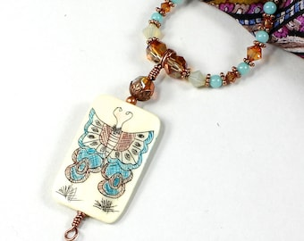 Scrimshaw Necklace   Bead With Butterfly Jewelry   Amazonite Crystal Necklace   Gemstone Butterfly Necklace   Blue Copper Necklace