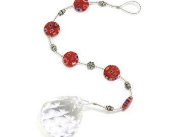 Red Floral Suncatcher -  Daisy Flower Decor -Hanging Window Crystal - Window Prism Rainbow Maker - Solana Kai Designs