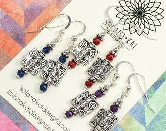 Geometric Earrings - Lightweight Silver Dangles - Boho Tribal Ethnic Earrings - Silver Blue Red Purple - Solana Kai Designs