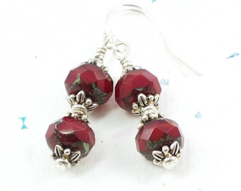 Red Bead Valentine Earrings For Her | Red Bead Dangle Earrings | Red Holiday Dangle Earrings | Silver Red Earrings | Solana Kai Designs