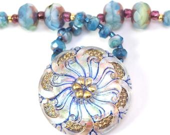 Blue Gold Flower Pendant Necklace   Blue Pink Gold Pendant Necklace   Blue Gold Bead Necklace   Blue Gold Pink Bead Necklace   Solana Kai