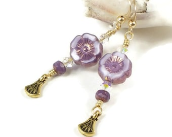 Purple Flower Earrings For Women | Purple Flower Jewelry For Spring | Floral Jewelry Gift For Women |  Solana Kai Designs | Pacific NW
