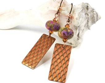 Copper Lampwork Earrings, Lampwork Earrings, Textured Copper Earrings, Copper Dangle Earrings, Handcrafted Copper Earrings