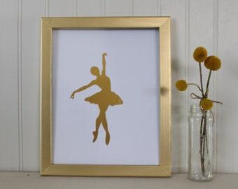 Ballerina Real Foil Print - Dancing - Dancer Silhouette - Nursery Wall Art Decor - Little Girl - Accessories - Gold