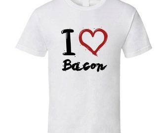 I Heart Bacon Funny Food T Shirt
