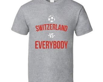 Retro Vintage Switzerland Vs Everybody World Cup Fifa Soccer Football Fan T Shirt