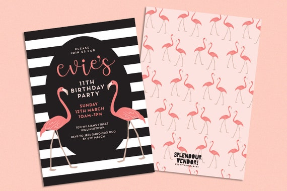 flamingo invite pink 1st 2nd 3rd 4th 5th 6th 7th 8th 9th 10th etsy