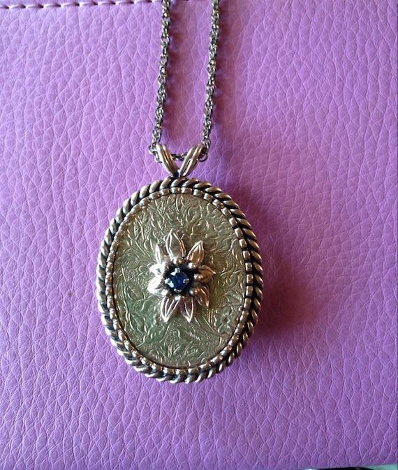 Victorian gold sapphire hair locket, mourning jewe
