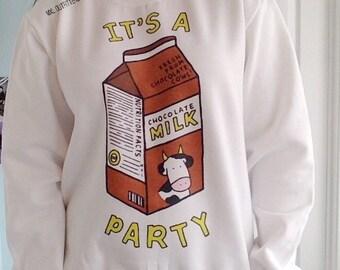 Chocolate Milk Party Crewneck Sweatshirt © Design by Euclea Tan