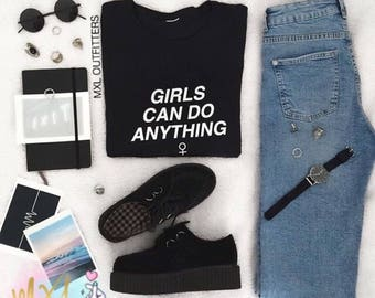 Black and white Girls Can Do Anything T-Shirt © Design by Maggie Liu