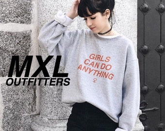 Girls Can Do Anything Crewneck Sweatshirt  © Design by Maggie Liu