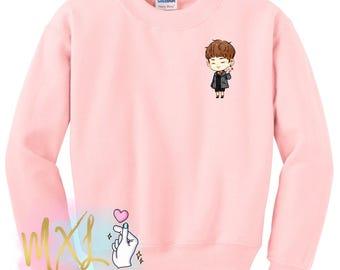 Pocket BTS Jin Spring Day Crewneck Sweatshirt (Design by Yeooongi)