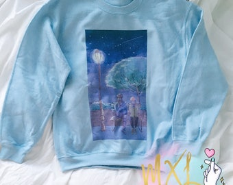 Night S.Coups and Woozi // Seventeen Seungheol and Jihoon Kpop Crewneck Sweatshirt ( Design by aqualucent )