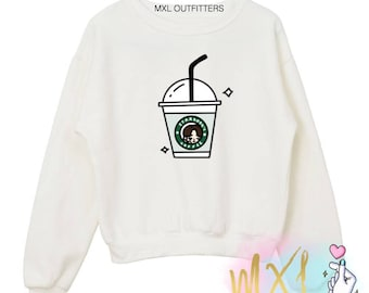STARKOOK'S Coffee // BTS Jungkook KPOP Crewneck Sweatshirt (Design by @milkteas.paper)