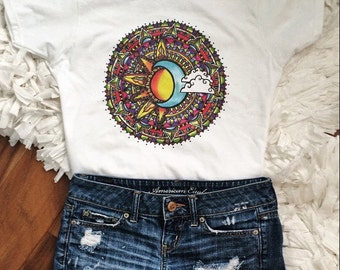 Colorful Sun and Moon t-shirt ©