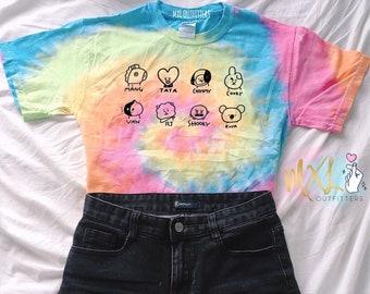 Cute BTS characters doodle Tie Dye T-Shirt