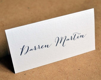 Wedding Place Cards - Calligraphy Table Name Folded Textured Card - Script Font Tent Style - Heart on Reverse