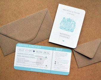 Wedding Invitation - Personalised Destination Wedding Invitation Passport & Boarding Pass Suite including DL Kraft Envelope
